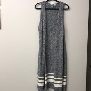 GAP grey long open front cardigan size small